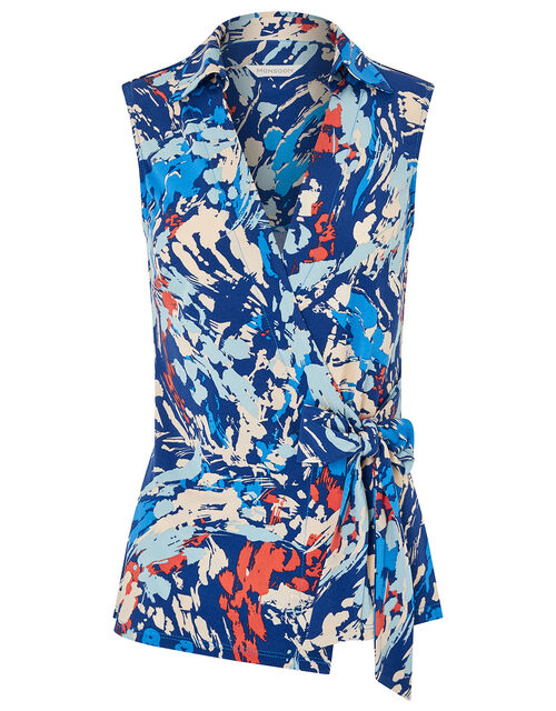 Arianna Printed Jersey Top, Blue (BLUE), large