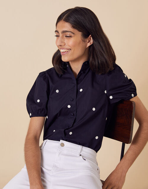 Spot Print Short Sleeve Blouse in Organic Cotton, Blue (NAVY), large