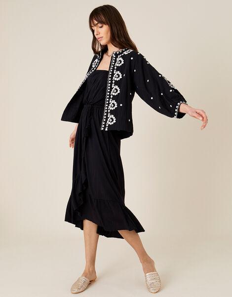 Plain Midi Bandeau Dress  Black, Black (BLACK), large