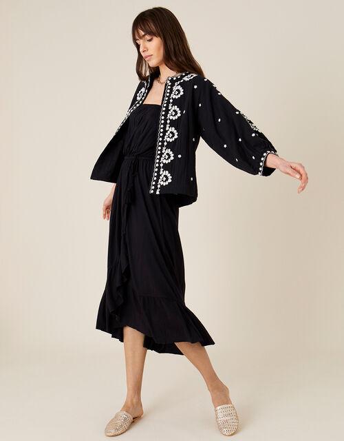 Plain Midi Bandeau Dress , Black (BLACK), large