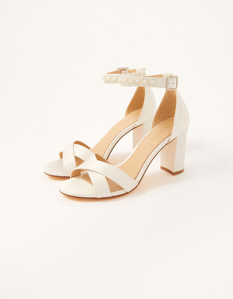 High Heeled Beaded Strap Bridal Sandals Ivory, Ivory (IVORY), large