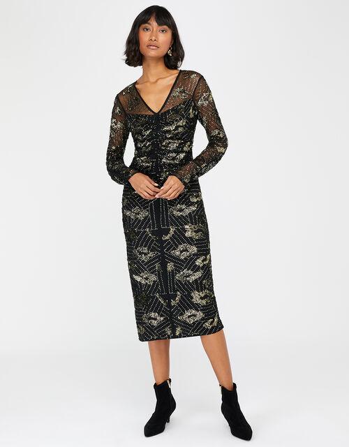Alyssa Animal Sequin Midi Dress, Black, large