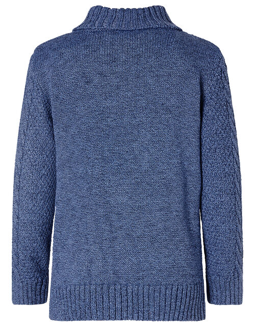 Shawl Collar Cable Knit Jumper, Blue (BLUE), large