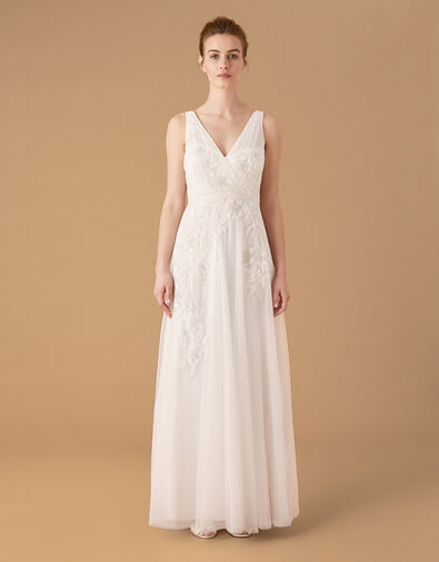 Lucy Floral Embroidered Bridal Dress Ivory, Ivory (IVORY), large