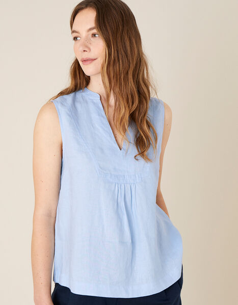Jasmine Tank Top in Pure Linen Blue, Blue (BLUE), large