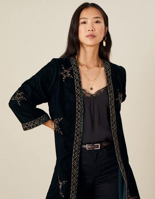 Peggy Velvet Star Kimono, Green (DARK GREEN), large