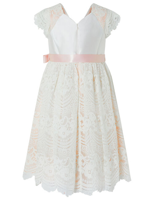 Scalloped Lace Occasion Dress, Pink (PALE PINK), large