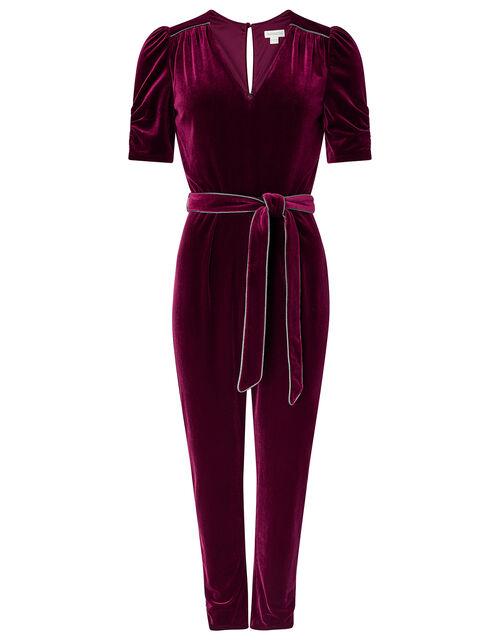 Kimberley Velvet Jumpsuit, Red (BERRY), large