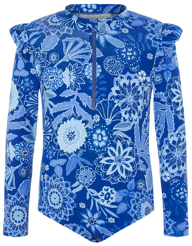Flower Print Sunsafe Swimsuit Blue, Blue (BLUE), large
