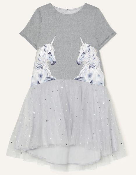 Unicorn and Star Print Dress Grey, Grey (GREY), large