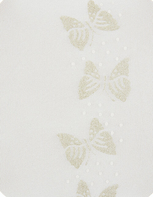 Savannah Glitter Butterfly Tights, Ivory (IVORY), large