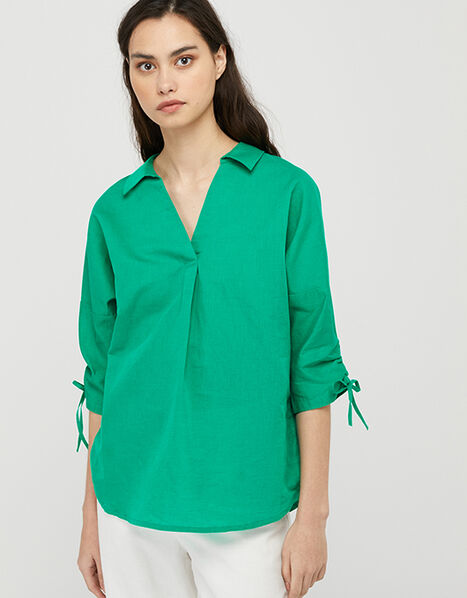 Ariel Shirt in Linen and Organic Cotton Green, Green (GREEN), large