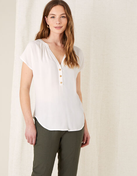Waverly Button Detail Top  Ivory, Ivory (IVORY), large
