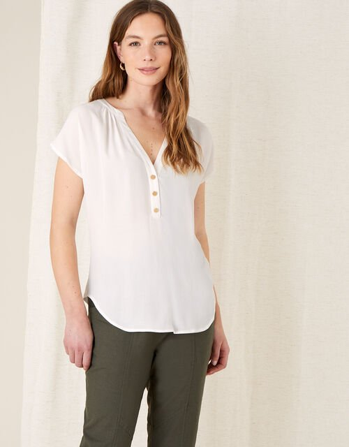 Waverly Button Detail Top , Ivory (IVORY), large