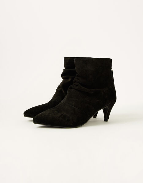 Slouch Suede Kitten Boots Black, Black (BLACK), large