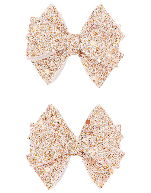 Giselle Glitter Bow Hair Clips, , large