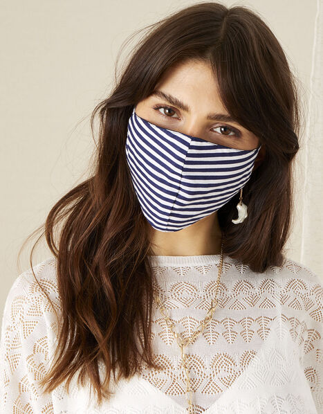 Stripe Print Face Mask in Pure Cotton, , large