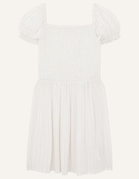 Shimmer Puff Sleeve Dress Natural, Natural (IVORY), large