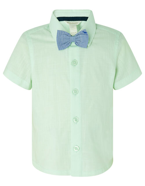 Mateo Shirt and Shorts Set with Dinosaur Bow Tie, Green (MINT), large