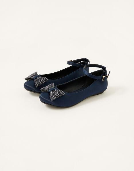 Bow Ballerina Flats Blue, Blue (NAVY), large