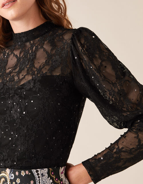 Layla Sequin Stretch Lace Top, Black (BLACK), large