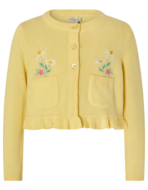 Baby Florie Cardigan in Knitted Cotton, Yellow (YELLOW), large
