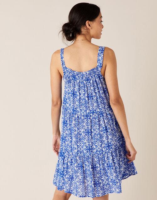 Beaded Neckline Printed Dress, Blue (BLUE), large
