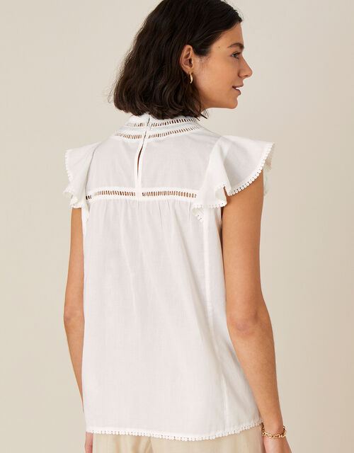 Lace Chest Top in Organic Cotton, Ivory (IVORY), large
