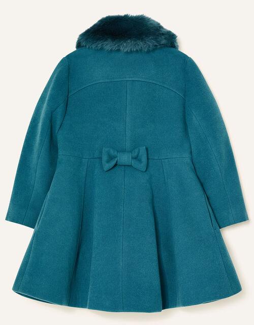 Faux Fur Collar Skirted Coat, Teal (TEAL), large