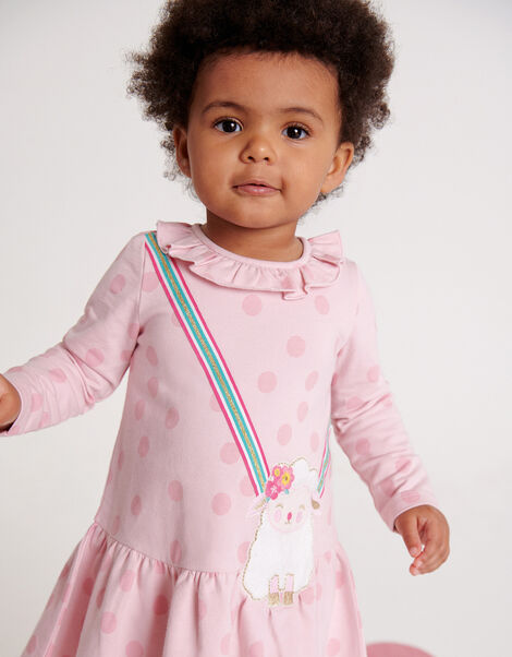 Baby Sheep Sweat Dress in Organic Cotton   Pink, Pink (PINK), large