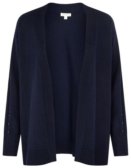 Gem Sleeve Cardigan, Blue (NAVY), large