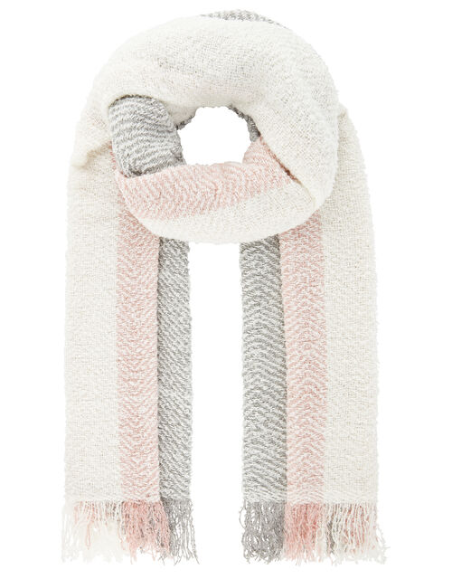 Pastel Colour-Block Knit Blanket Scarf, , large