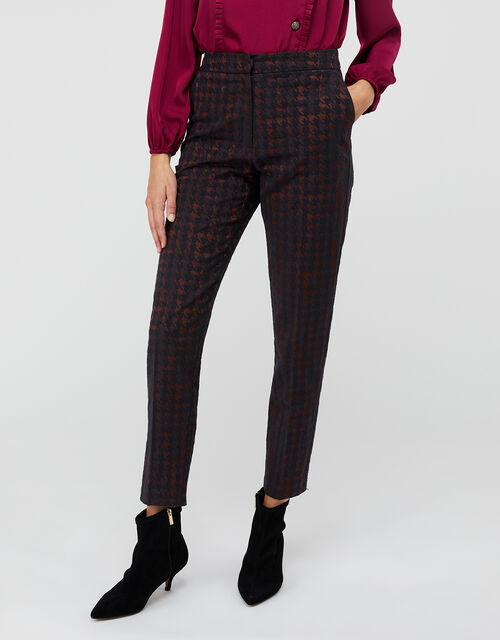 Harriet Houndstooth Jacquard Trousers, Burgundy, large