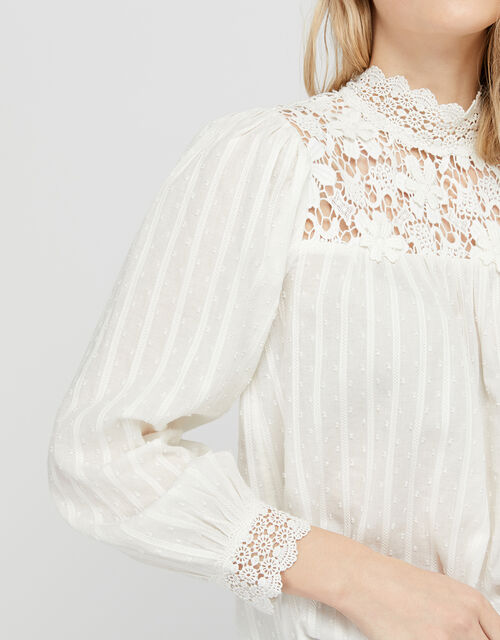 Ivory Floral Lace High Neck Blouse, Ivory (IVORY), large