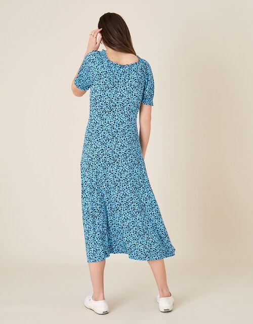 Floral Sweetheart Jersey Midi Dress, Blue (BLUE), large
