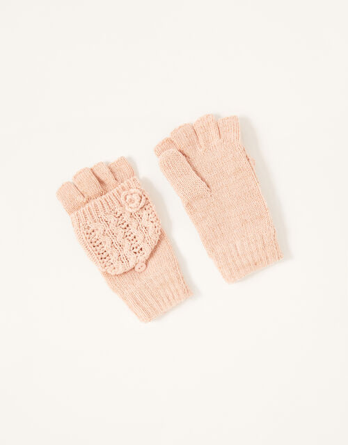 Daisy Sparkle Capped Gloves, Pink (PINK), large
