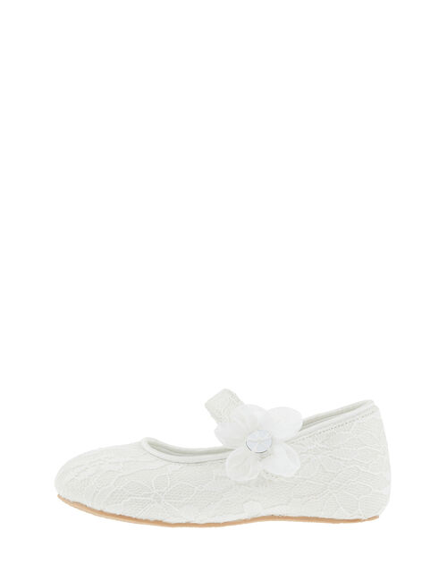 Baby Tiana Lace Corsage Walker Shoes, Ivory (IVORY), large