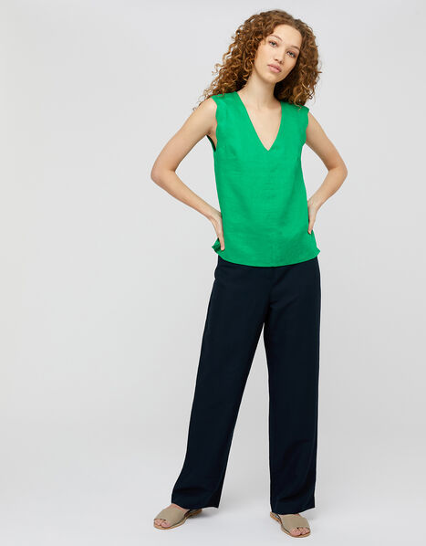 Lotus Scallop Sleeveless Top in Pure Linen Green, Green (GREEN), large