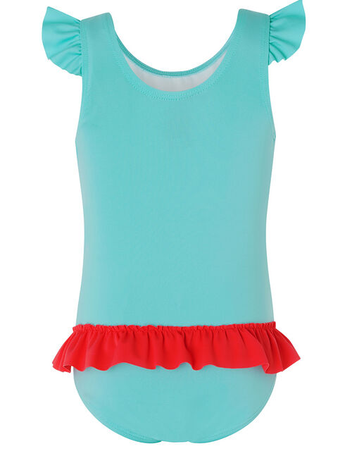 Baby Cora Flamingo Swimsuit with Recycled Polyester, Blue (TURQUOISE), large