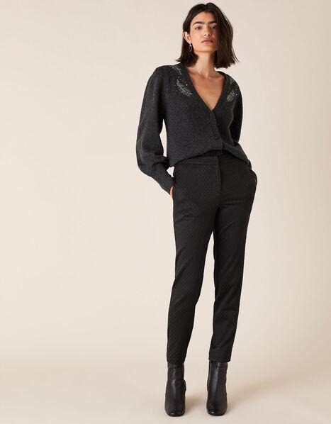 Slim Jacquard Trousers Black, Black (BLACK), large