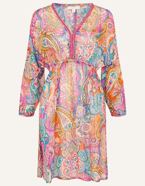 Paisley Print Kaftan Dress, Pink (PINK), large