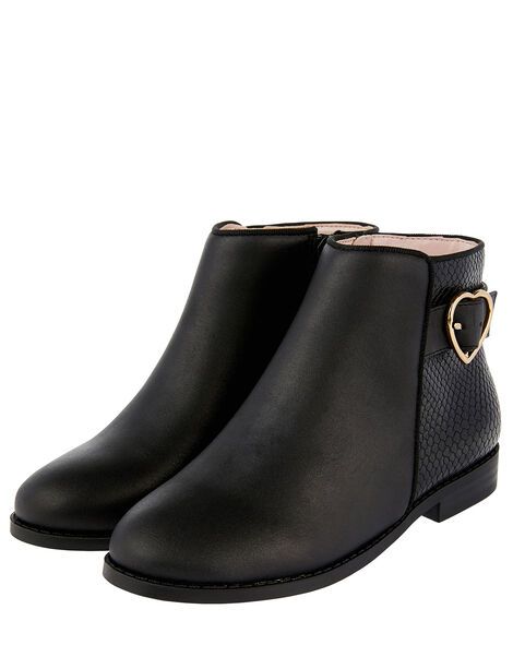 Mona Heart Buckle Ankle Boots Black, Black (BLACK), large