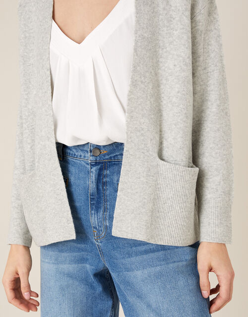 Wide Pocket Knit Cardigan, Grey (GREY MARL), large
