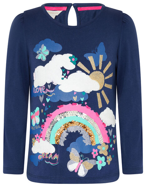 Rainbow Sequin T-shirt  Blue, Blue (NAVY), large