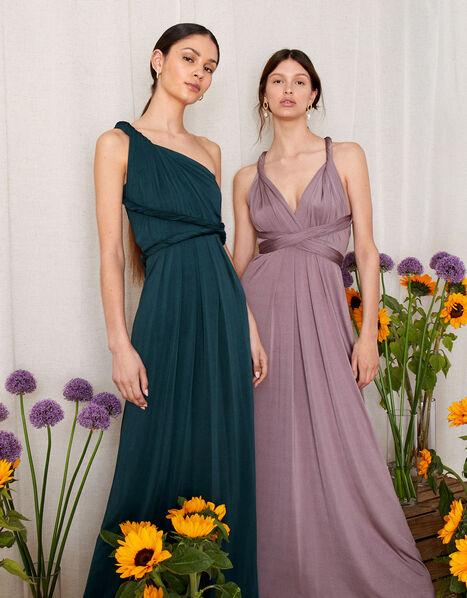 Tallulah Twist Me Tie Me Jersey Bridesmaid Dress Green, Green (DARK GREEN), large