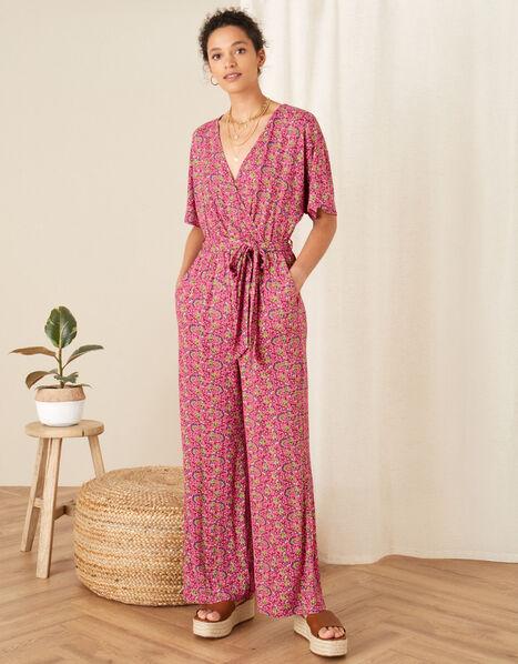 Printed Jersey Wide Leg Jumpsuit Pink, Pink (PINK), large
