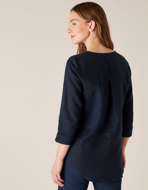 Millie Shirt in Pure Linen, Blue (NAVY), large