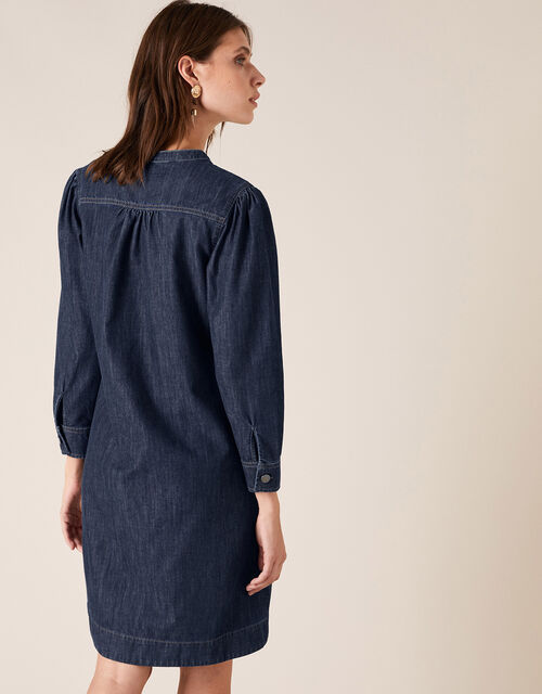 Knee-Length Denim Dress, Blue (BLUE), large