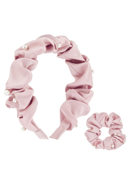 Pearly Satin Headband and Scrunchie Set, , large