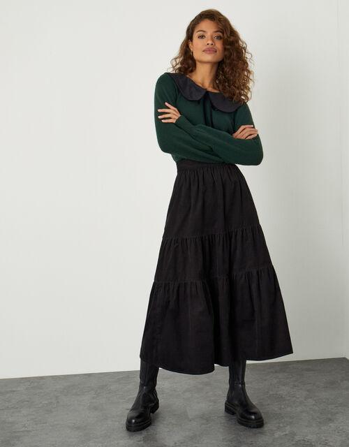 Tia Tiered Cord Skirt, Black (BLACK), large